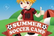 A vector illustration of soccer summer camp poster design